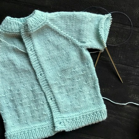 Minty Green Sweater on Needles